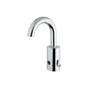 Electronic basin mixer with fixed spout