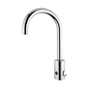 Electronic basin mixer with fixed spouts
